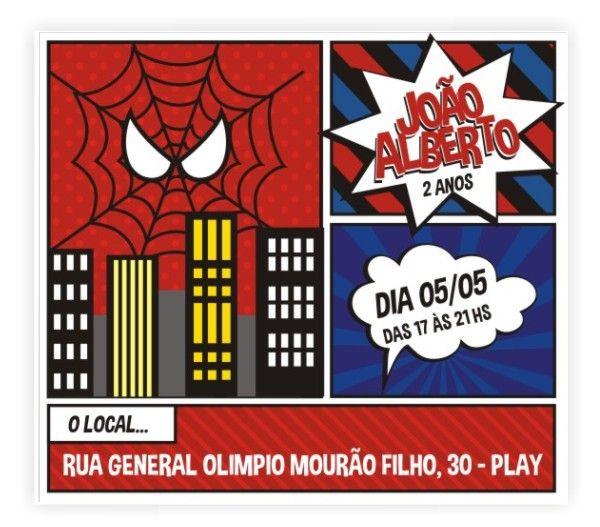 Convite Homem Aranha aniversario 2 anos do João Alberto criado pela Paper&Co Papelaria Exclusiva