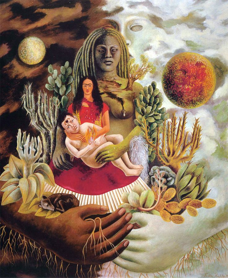 Questo quadro di Frida Kahloha una straordinaria ricchezza di simboli, legati perlopiù alla mitologia e alla cultura messicana, e questolungo titolo: L'a