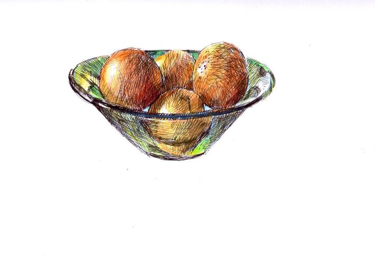 """""""Green glass bowl"""" ink and pencil.  © Eric Gaskell 2016"""