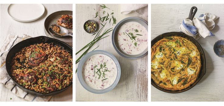 Beyond the fruit-sweetened stuff: Around the world, cooks turn to yogurt for a huge variety of culinary delights. From left: cast-iron chicken marinated in a yogurt-spice blend and topped with the Middle Eastern grain freekeh; a Persian cold yogurt soup; shitake frittata with labneh, kale and shallots. From Yogurt Culture by Cheryl Sternman Rule.