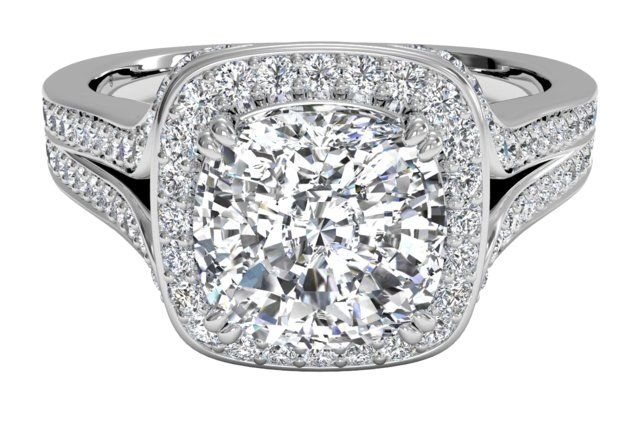 Masterwork Cushion Halo Diamond 'V' Band Engagement Ring - in Platinum (0.44 CTW)  add in a Canadian Diamond and BAM spectacular!