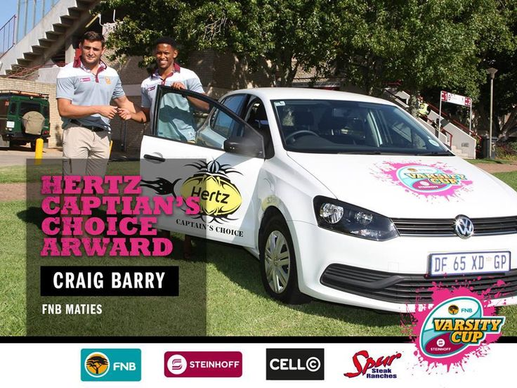 Hertz SA are thrilled to announce The Hertz Captain's Choice award #MATIESvsCUT which went to Craig Barry from Maties Rugby Club  #RugbyThatRocks