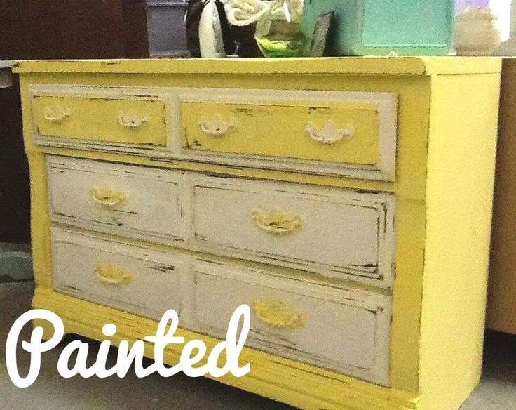 Shabby Chic charming Painted yellow and white vintage cottage dresser distressed and waxed. Sold and going to be in a nursery! visit our website at www.pickedandpainted.com