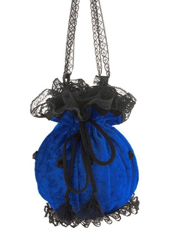Blue black velvet lace wristlets bag in by FashionForWomen on Etsy
