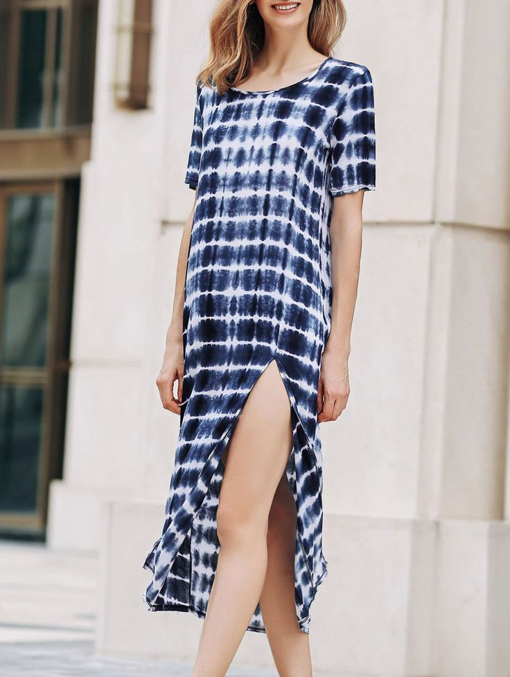 Tie-Dyed Round Collar Short Sleeve High Slit Dress #shoes, #jewelry, #women, #men, #hats, #watches, #belts