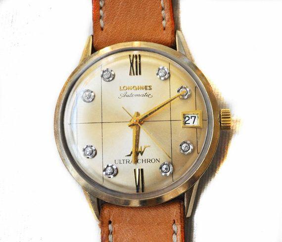 1960s Longines Ultrachron Watch 14k Rolled Gold by ArtDecoAntiques