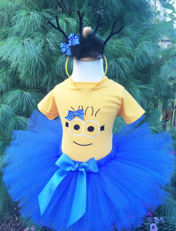 Minion Tutu Dress - Girl Minion Costume - Baby and Toddler Sizes - Blue and Yellow