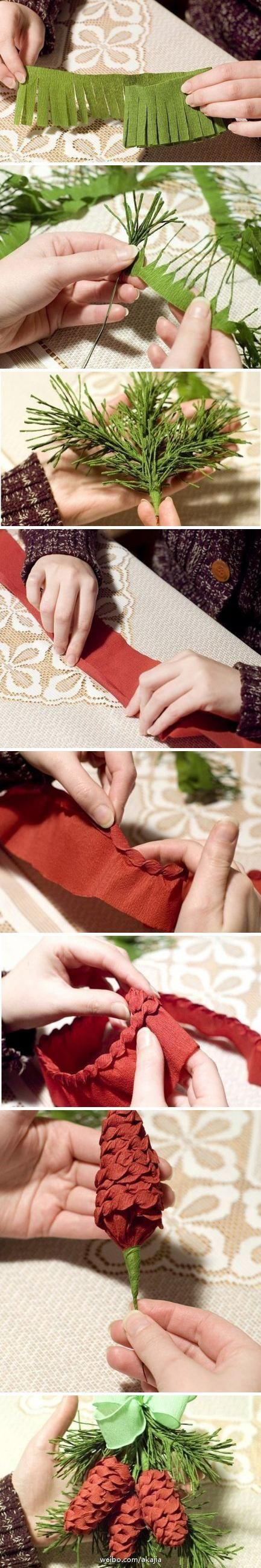 Tutorial for crepe paper for pine cone fir Christmas tree garland? Wreath?
