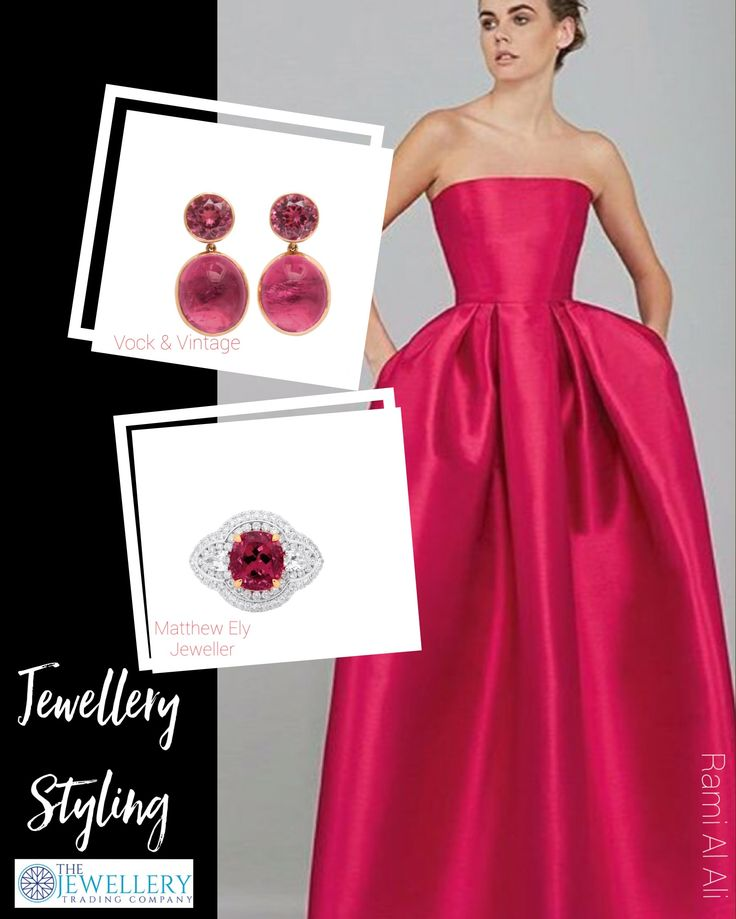 Rami Al Ali gown which is a perfect shade of pinkish red and matches so well with Rubellite tourmaline. Stunning tourmaline earrings from Vock & Vintage and a beautiful tourmaline and diamond ring from Matthew Ely Jewellers. All jewels available from www.1stdibs.com