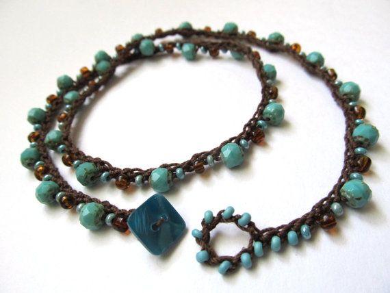 Crochet necklace / wrap bracelet beaded turquoise by CoffyCrochet, $24.00