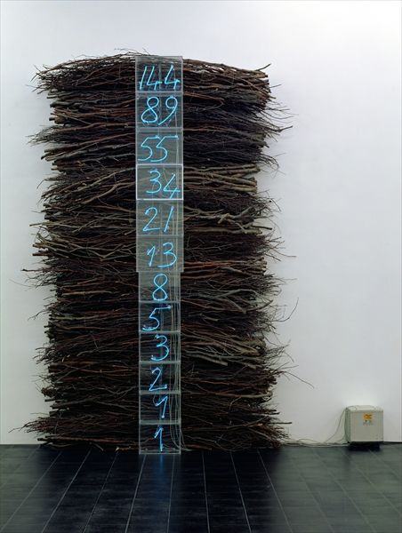 Mario Merz, Untitled, 1992-93 (acrylic glass, neon and twigs)