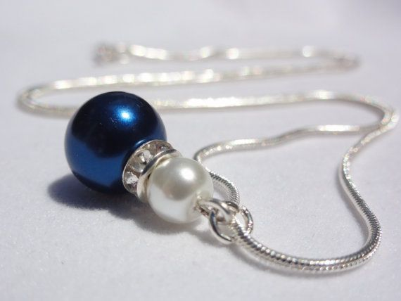 Pearl Necklace Bridesmaid Blue Pearl Necklace Bridesmaid Jewelry Midnight Blue Pearl Wedding Jewellery Bridesmaid Gifts Flower Girl Necklace Pearl Necklace Bridesmaid Blue Pearl by Stunning Gems Jewelry