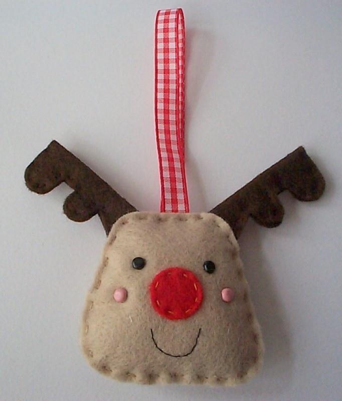 BULK BUY 12 handmade REINDEER felt christmas decorations WHOLESALE. $57.00, via Etsy.