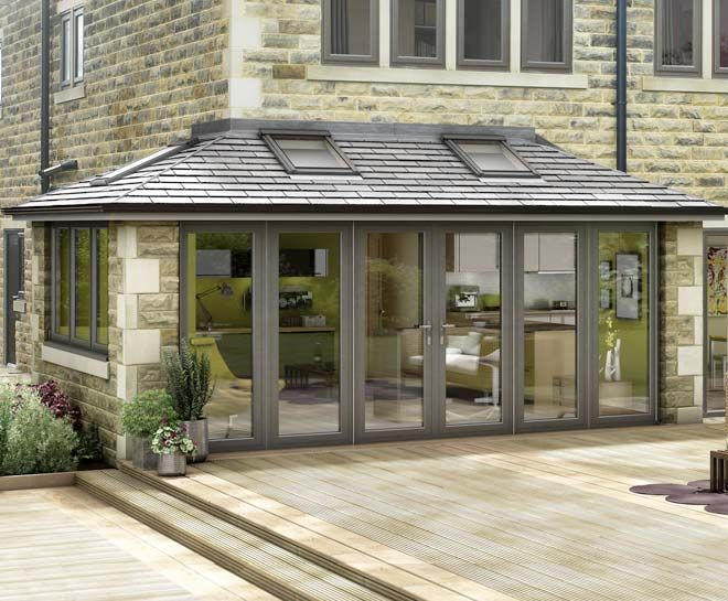 "Tiled conservatory- nice traditional look and good mix of open and "" solid"""