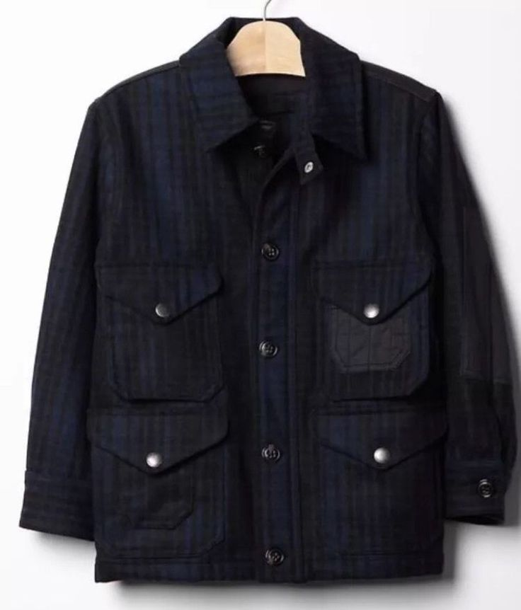 New Gap Kids Boys Wool Plaid Jacket Sz Medium 8 9 Coat | eBay