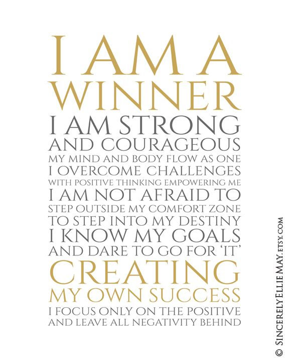 Positive Quotes Success Wall Art I Am A Winner Office Printable And Typography Poster Gift For Career Or Business Woman You Print 40406 Positive Quotes Success Positive Quotes I Am A Winner