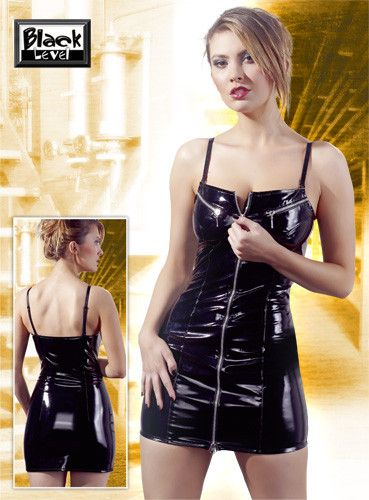 PVC Mini Dress | Divas Closet  Slim cut black vinyl mini dress with metal zipper in the front and above the breasts. Suspender straps are adjustable and detachable.
