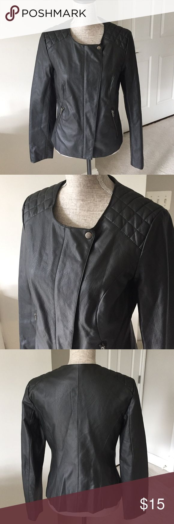UK Style French Connection faux leather jacket Faux leather jacket by U.K. style French Connection. Fully lined.                Measurements: Bust:36 inches Length:24 inches UK Style French Connection Jackets & Coats