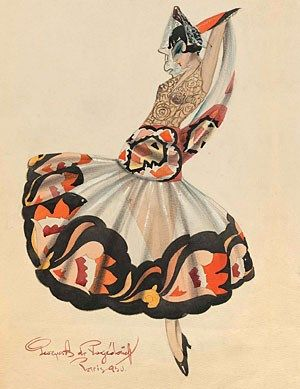 Costume designs by Georges A. de Pogedaieff for the role of Carmen in a ballet set to Georges Bizet's opera music and for the queen, king
