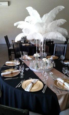 https://flic.kr/s/aHskE6Dbx1 | Accolades Boutique Venue | White ostrich feather centrepieces giving a final touch to a perfect setting.