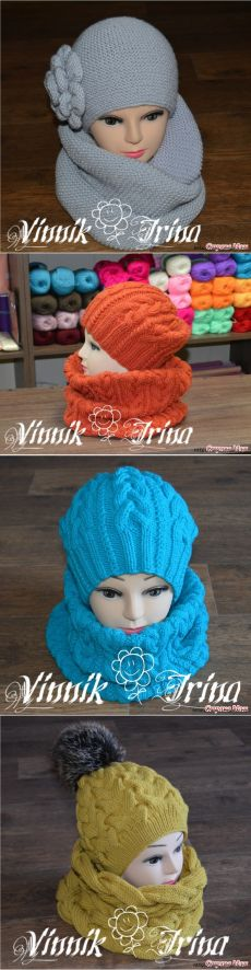 4 теплых зимних комплекта (шапка+снуд) спицами! » Женский Мир