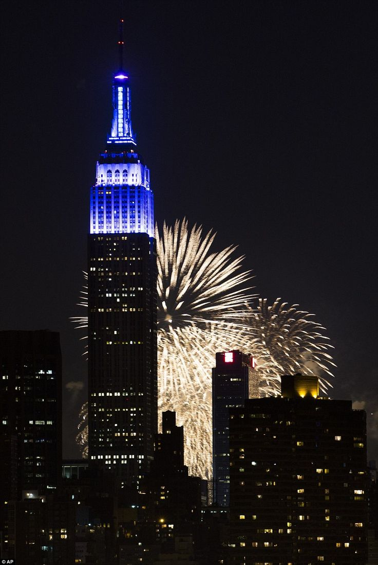 Crowds gathered to watch fireworks light up the Manhattan skyline during Macy's 37th Annual Fourth of July fireworks show