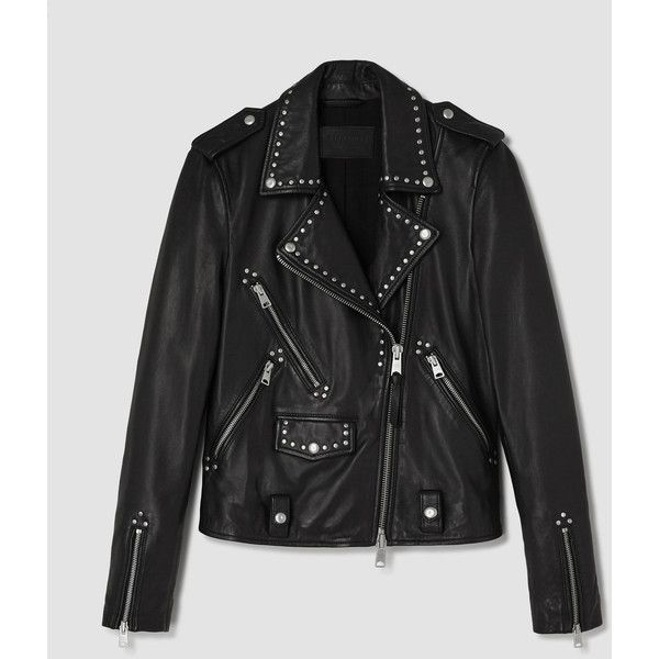 AllSaints Vettese Studded Leather Biker Jacket ($595) ❤ liked on Polyvore featuring outerwear, jackets, black, rider jacket, leather motorcycle jacket, genuine leather jackets, motorcycle jacket and leather moto jacket