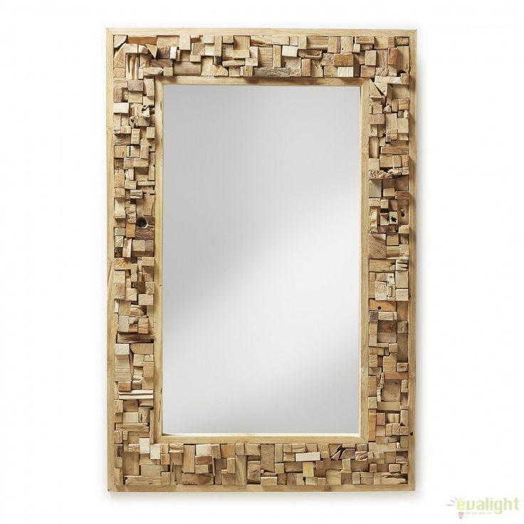 Oglinda decorativa, rama mozaic din lemn de tec, YALANA A180M47 JG - Corpuri de iluminat, lustre, aplice