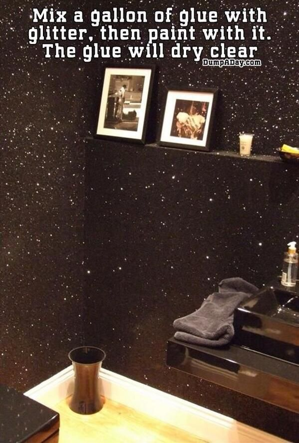 How-To Galaxy Room mix a gallon of glue with glitter and paint over the wall. The glue will dry up clear, and the glitter will show up!