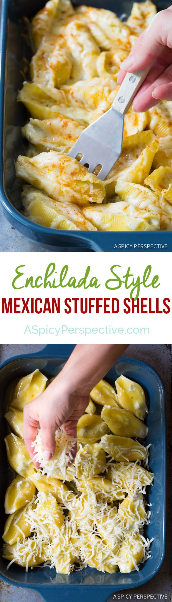 Creamy Enchilada-Style Mexican Stuffed Shells on ASpicyPerspective.com via @spicyperspectiv