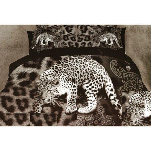 3D hnedo sivé posteľné obliečky s leopardom
