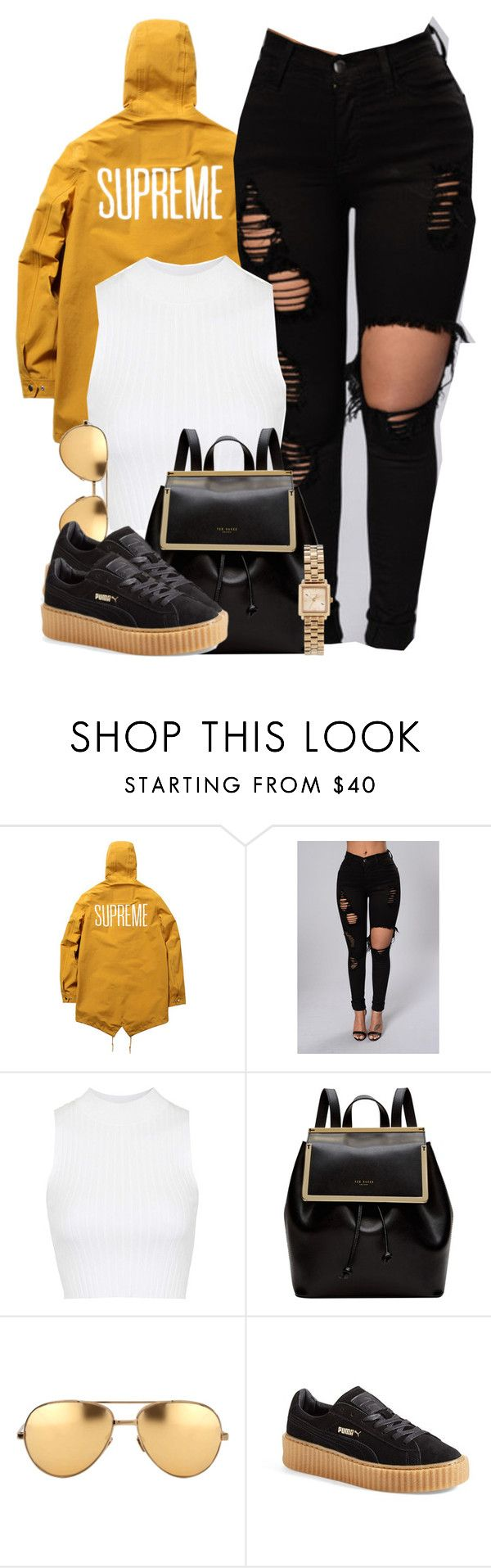 """Living out my dreams, they got a lot closer."" by cheerstostyle ❤ liked on Polyvore featuring Topshop, Ted Baker, Linda Farrow, Puma and Marc by Marc Jacobs"
