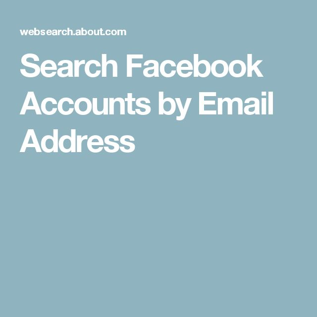 Search Facebook Accounts by Email Address