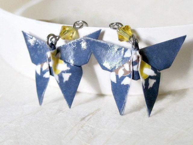 Origami Earrings Paper Earrings Butterfly Earrings