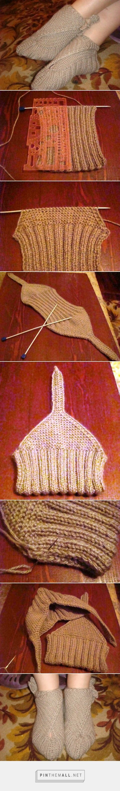 "Sling-Heel or ""Japanese"" knitted slippers ~~ Google translation from Russian: 1- Cast on 40 sts, work 2x2 ribbing until piece is 17-18 cm long with ""thick"" yarn, possibly Worsted or Aran on 5mm needles ~ 2- Decr. 2 sts on each side and work in garter stitch, decr 1 st in each row until 5 sts are left on needles. Then work straps to length according to ankle size. I did  20-row straps.~ 3- Pick up 40 sts on cast-on edge and repeat step 2. [liveinternet.ru/users/3824100/post300998487/]"