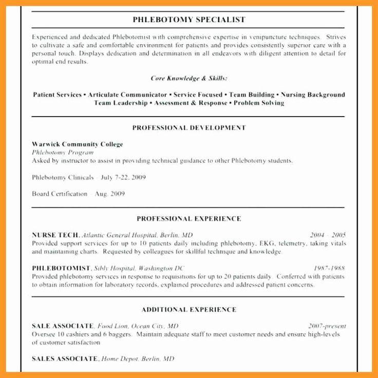 Entry level phlebotomy resume inspirational 12 13