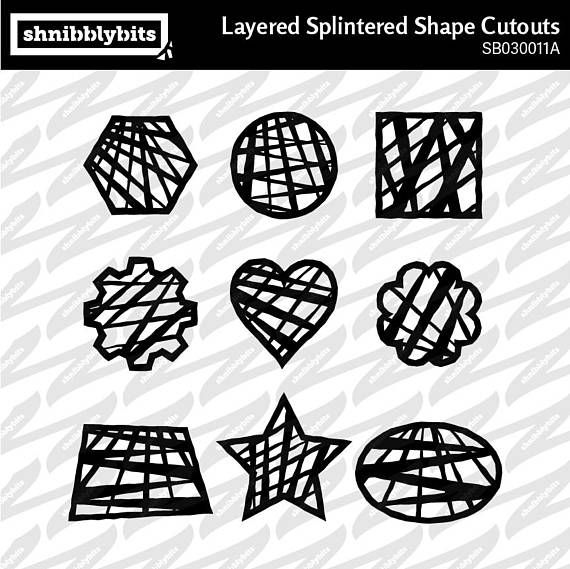 Layered Splintered Shape Cutouts  SVG DXF PNG Digital