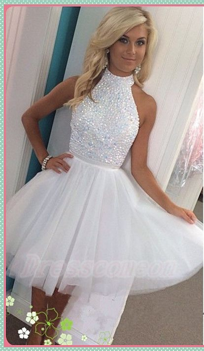 2016 Hont Sale White Halter Beading Homecoming Dresses,Sparkly Short Homecoming Dress For Teens, Pretty Graduation Dresses,Modest Cocktail Dresses http://www.luulla.com/product/587948/2016-hont-sale-white-halter-beading-homecoming-dresses-sparkly-short-homecoming-dress-for-teens-pre