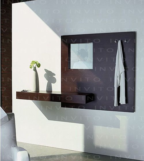 Panel de madera de x metros con espejo y - Recibidores minimalistas ...