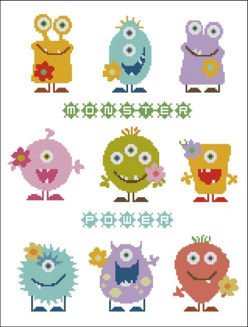Egle: mostri punto croce cross stitch Monster Flower Power Pastels