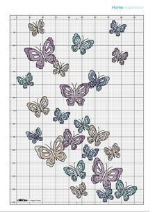 """Butterfly Cushion Chart • Picture of Cushion is pinned in """"Cushions, Pillows and Sachets"""""""