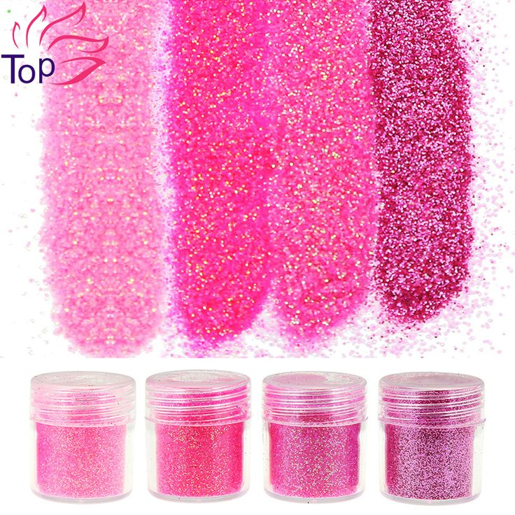 4 Bottle/Set Sequin Dust Gem Nail Glitter Decorations 4 Designs Red Acrylic UV Glitter Powder 3D Nail Art Tips BG049-052