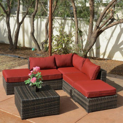 Creative Living South Hampton 6 Piece Wicker Sectional Set with Ottomans