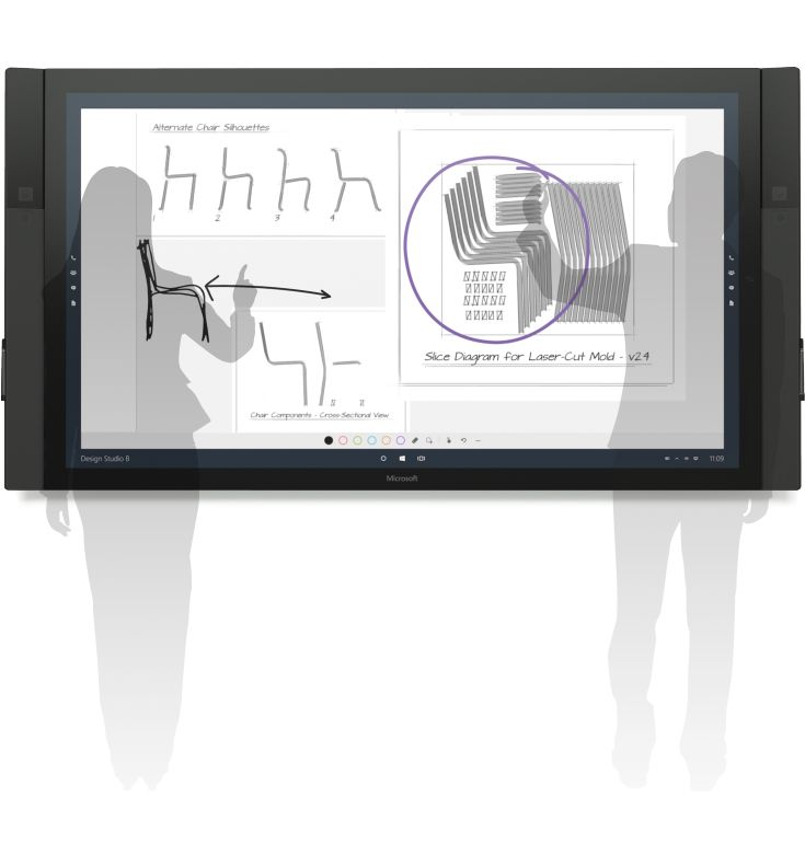 The Surface Hub digital screen allows distributed teams to actively participate in business meetings