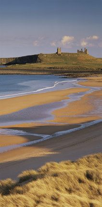 View of Dunstanburgh Castle,  UK from the high dunes at Embleton Beach taken mid-afternoon