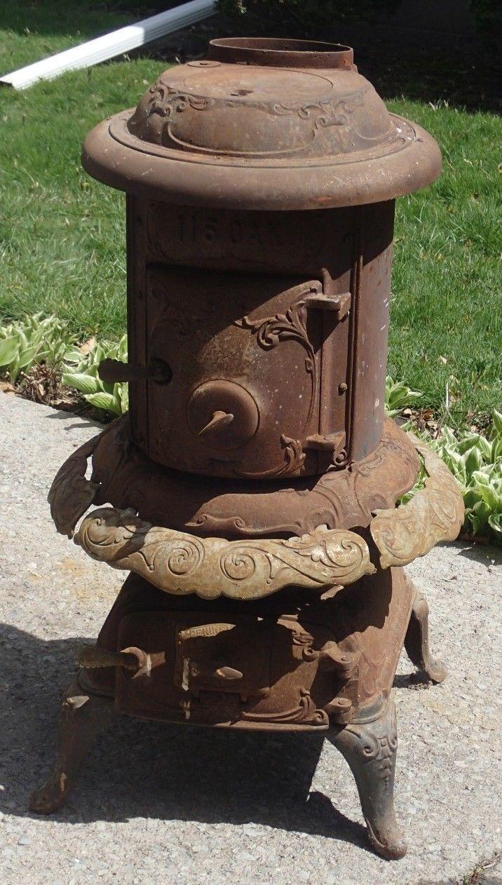 Antique Oak 116 Round Cast Iron Parlor Wood Pot Belly Stove Peninsular Detroit