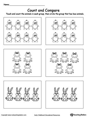 Count and Compare Animals: Practice counting and number recognition with the Count and Compare Animals printable worksheet. Help your preschooler learn counting numbers and identifying which number is greater/less to.