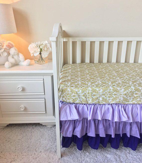 Purple Ombre Crib Skirt, Lavender Crib Skirt, Purple Crib Skirt, Ombre Ruffled Crib Skirt, Purple Ruffled Crib Skirt, Lilac Crib Skirt