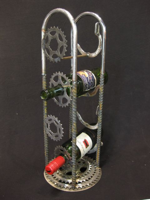 bike wine rack; I don't think it would be used as a wine rack, as we don't drink, but I'm pretty sure we could work something out along these lines!