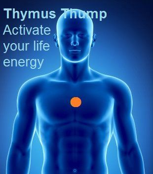 "The Thymus Thump (also known as the happiness point) can assist to neutralize negative energy, exude calm, revamp energy, support healing and vibrant health, and boost your immune system.  A simple but very effective energy technique involves tapping, thumping or scratching on the thymus point. The word thymus comes from the Greek word 'thymos' which means ""life energy."" The thymus gland lies just beneath the upper part of the breastbone in the middle of the chest. Its role is in keeping...."